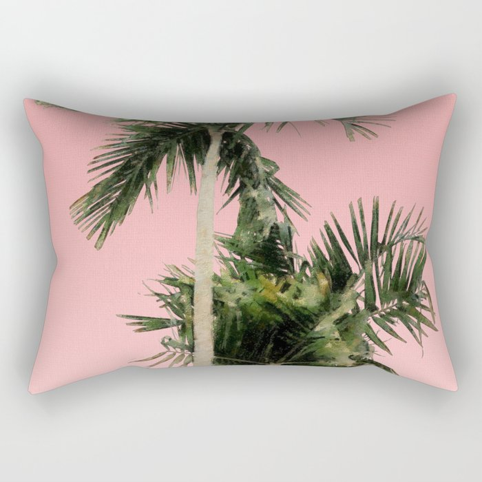 Palm Trees on Pink Wall Rectangular Pillow