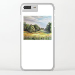 Square Bales Golden Serenity Clear iPhone Case