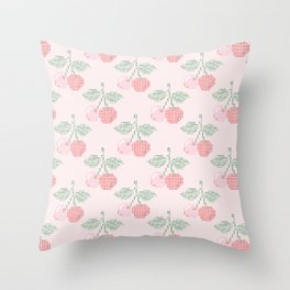 Cherry Cross Stitch Pattern on pink Throw Pillow