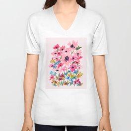 Peachy Wildflowers Unisex V-Neck