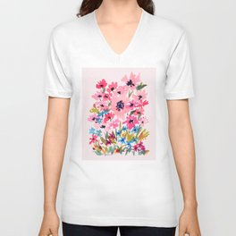 Peachy Wildflowers Unisex V-Neck