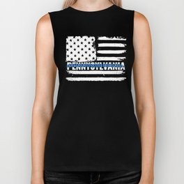 PN Pennysylvania State Police Gift for Policeman, Cop or State Trooper Thin Blue Line Biker Tank