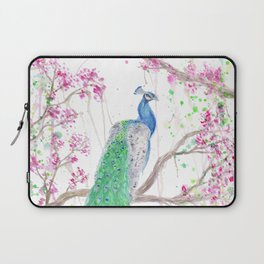 """Watercolor Painting of Picture """"Peacock"""" Laptop Sleeve"""