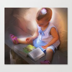 Baby Reads Bible Canvas Print