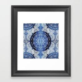 Boho Brocade Blue Mandalas Framed Art Print