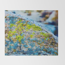 Hyper Lichen on Cool Desert Rock Throw Blanket