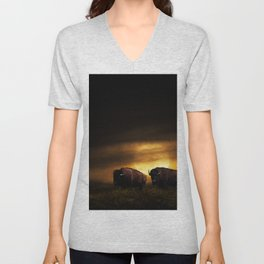 Two American Buffalo Bison with Moon Rise Unisex V-Neck