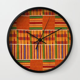 Ethnic African Kente Cloth Pattern Wall Clock