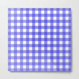 Plaid (Blue & White Pattern) Metal Print