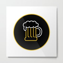 Beer Mug Foam  Neon Sign Icon Metal Print