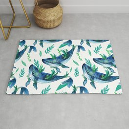 Humpback whale watercolor painting.Seamless Pattern Rug