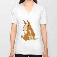 bull terrier V-neck T-shirts featuring Bull Terrier by Kristen Rimmel