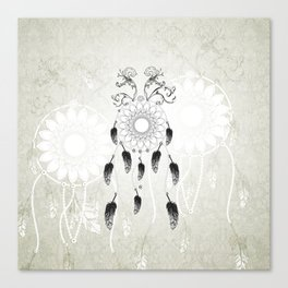Dreamcatcher in black and white Canvas Print