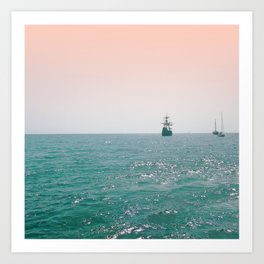 Pirate ship at sea Art Print
