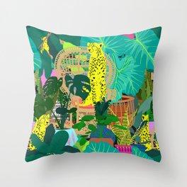 Maximalist Boho Jungle Throw Pillow