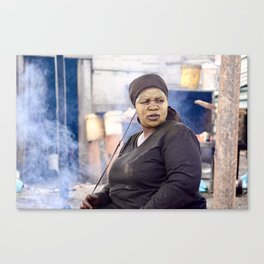 Woman Cooking in Fire, Langa Township, South Africa Canvas Print