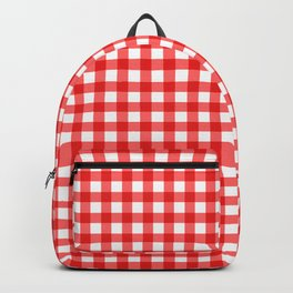 Gingham Print - Red Backpack