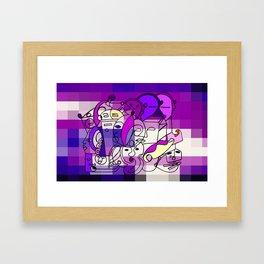 Purple White Commotion Framed Art Print
