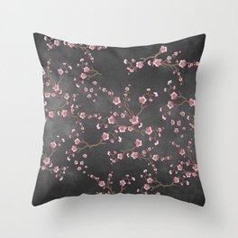 SAKURA LOVE - GRUNGE BLACK Throw Pillow