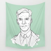 cumberbatch Wall Tapestries featuring Benedict Cumberbatch by Cécile Pellerin