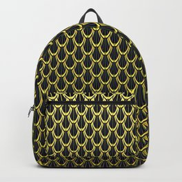 Chain Link Gleaming Golden Metal Pattern Backpack