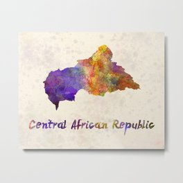 Central African Republic in watercolor Metal Print