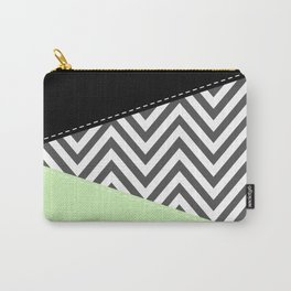 Zigzag Pattern, Chevron Pattern - Gray Green Black Carry-All Pouch