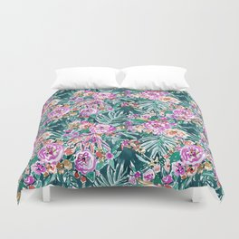 TROPICAL FEELS Begonia Palm Watercolor Pattern Duvet Cover