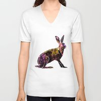 hare V-neck T-shirts featuring Hare by MACACOSS