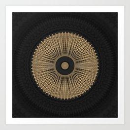Gold Coin Mandala on Marble Art Print