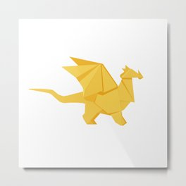 Origami Golden Dragon Metal Print