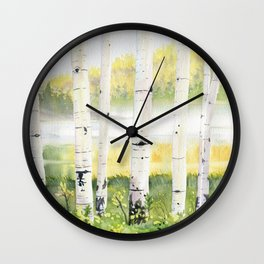 Behind The Birch Trees Wall Clock