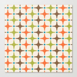 Mid Century Modern Star Pattern 814 Brown Orange Turquoise Chartreuse Canvas Print