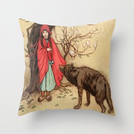 Little Red Riding Hood Warwick Goble Throw Pillow