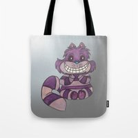 cheshire Tote Bags featuring cheshire by wickedhart