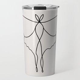 One Line Luna Moth Travel Mug