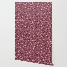 All over Modern Ladybug on Mauve Pink Background Wallpaper
