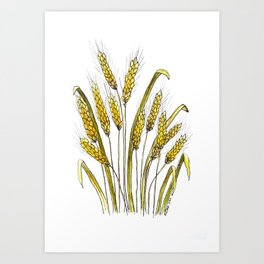 Golden wheat painting Art Print