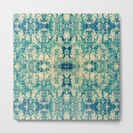 Vintage Blue Turquoise Floral Damask Pattern Metal Print