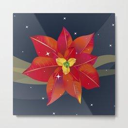 Cool Poinsettia with Blue Night Stars - Holiday Season Metal Print