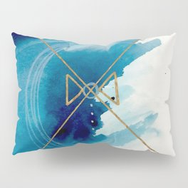 Galaxy Series 3 - a blue and gold abstract mixed media set Pillow Sham