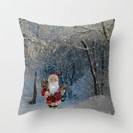 Santa claus in snowy landscape digital illustration Throw Pillow
