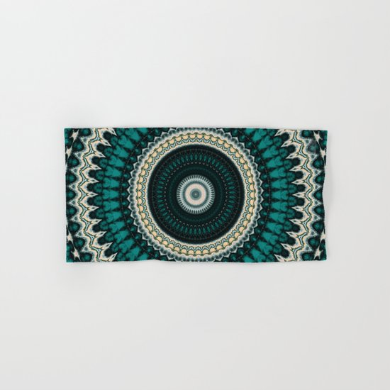 Mandala Fractal in Teal Study 01 Hand & Bath Towel