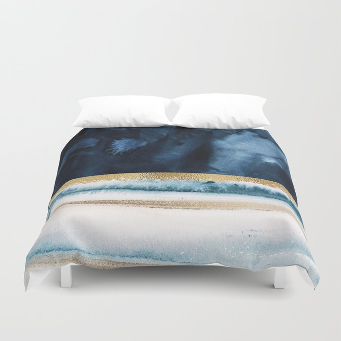 Navy Blue, Gold And White Abstract Watercolor Art Bettbezug