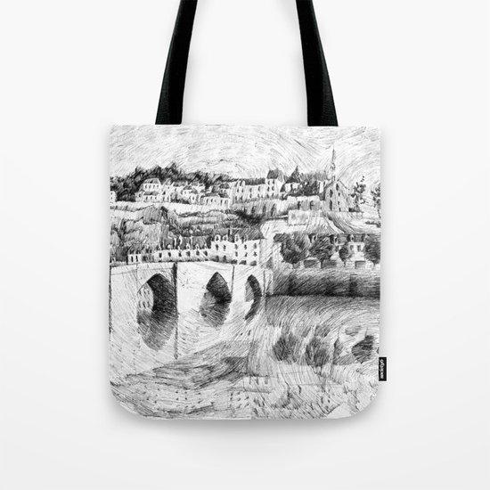 Terrasson village - Black ink Tote Bag