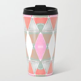 Art Deco Triangles Coral Grey Travel Mug