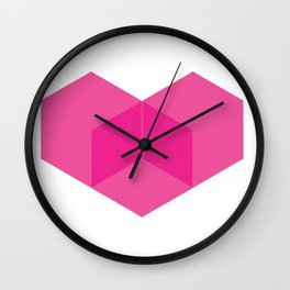 Love heart pink Wall Clock