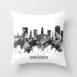 Dresden Germany Skyline BW Throw Pillow