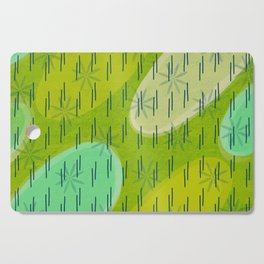 Modern circles with flowers and rain Cutting Board