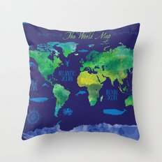 Nautical Map Throw Pillow